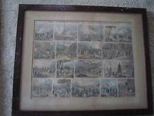 RARE Framed Lithograph / Eventual Career of NAPOLEON BUONAPARTE / c.1830 /