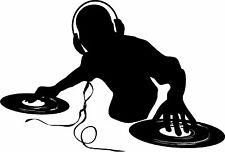 DJ Spinning records  wall vinyl decal