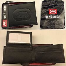 ECKO UNLIMITED UNLTD MENS COATED LEATHER BLACK BIFOLD FLIP ID WALLET NIB