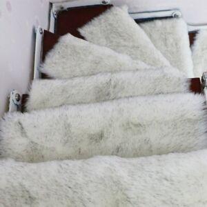 1Pc Soft Stairs Carpet Long Plush Faux Wool Rug Non Slip Stair Tread Step Rug