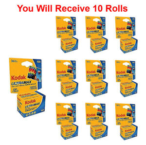 10 Rolls- Kodak Ultramax 400 GC 135-36 35mm Film Color Print Carded Fresh 2022