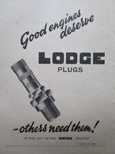 1/1946 PUB LODGE PLUGS SINTOX INSULATOR BOUGIES AVIATION / KLG ORIGINAL AD