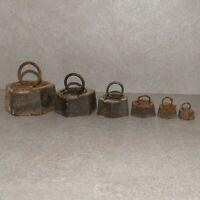 Antike Sechskant Eisen-Gewichte, 50 g , 100 g, 200 g, 500 g, 1 kg, 2 kg, selten