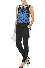 ELIZABETH AND JAMES Black Christina Linen Blend Tuxedo Stripe Pants L NWT $295