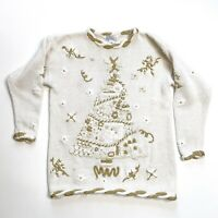 Vintage Christmas Tree Sweater Holiday Ugly Party White Gold Small Women's