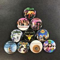 "Glam Metal 1"" Button Pin Set Hair Heavy Rock Poison Warrant Cinderella Winger"