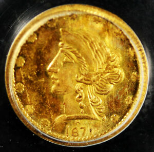 1871 50C Gold Liberty Round BG-1046 R-7 50C PCGS MS64 OGH Only 1 Graded Higher!