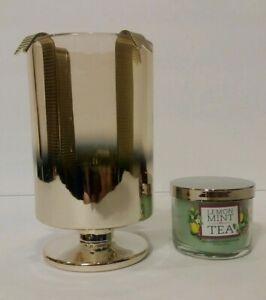 Bath & Bidy Works Gold Glass Ombre Drop In Mini Candle Holder W/Bonus 1.3 oz