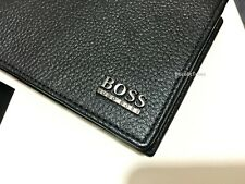 MEN'S HUGO BOSS LEATHER WALLET STYLE 'MONAD' 50261709 TRIFOLD BLACK BOXED