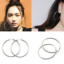 925 Sterling Silver Large Round Hoop Drop Dangle Earrings Womens Jewelry