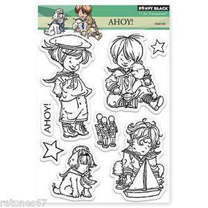 New Penny Black AHOY! Clear Stamps Boy Toys Sail Boat Mariner Sailor Teddy Bear