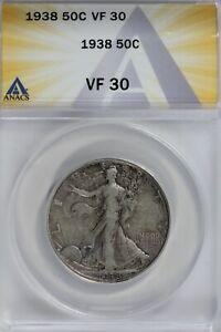 1938  50C ANACS   VF30   Walking Liberty, Lady Liberty Half, 0.50