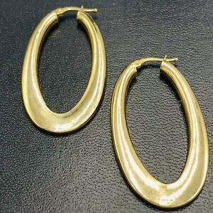 9ct Yellow Gold Oval Drop Hoop Ear Rings L282