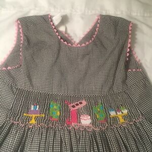 Aunt Pollys Girls Birthday Dress 5 Black Gingham Embroidered