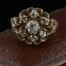 Rose Cut Diamond Cluster Ring Antique Georgian 10K Yellow &