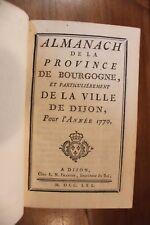 1770 Dijon Bourgogne Almanach Bibliophilie Reliure Superbe Grands noms fonctions