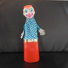 Marionnette clown fait main jouet ancien art-déco vintage 1960 France
