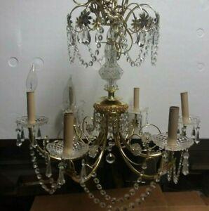Vintage CZECH Elegant Crystal Glass Chandelier Ceiling Lighting Fixture 6 Light