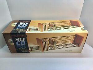 "VTG Atlantic 30 CD Storage Stackable Stack Rack 1322 Wood Metal 18.5"" Wide"