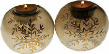 Set Of 2 Smoky Brown Glass Snowflake Christmas Tea Light Candle Holders