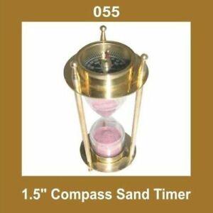 New Vintage 1.5'' Compass Sand Timer Hour Glass Nautical Brass ECs