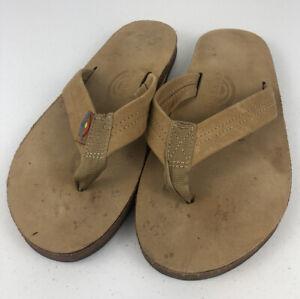 Rainbow Mens Classic Single Layer Flip Flop Sandal Sand Leather Medium (8.5-9.5)