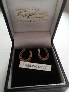 Horseshoe. Sterling Silver Earrings Vtg
