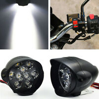 1Pair White 9 LED Motorcycle Scooter Bright Headlight Waterproof + ON OFF Switch