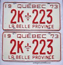 1973 QUEBEC Vintage License Plate PAIR # 2K 223