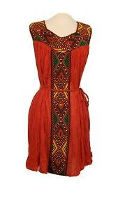 Ethiopian Traditional Handmade Mini Summer Red Dress Sz M