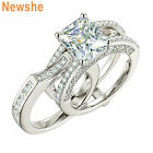 Newshe Engagement Wedding Ring Set For Women Emerald Aaaa Cz 925 Sterling Silver