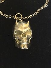 """Devil Skull TG92 Fine English Pewter On 20"""" Silver Plated Curb Necklace"""