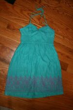 Women Juniors Aeropostale Med sundress halter dress cover up Used  turq/green