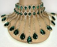 """Drippy Emerald Green CRYSTAL Blinding Collar Necklace & 3"""" Inch Earrings Set!"""