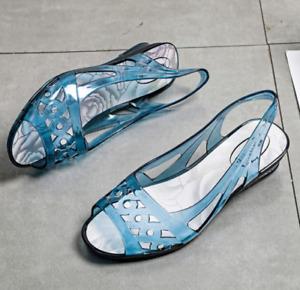 Summer Peep Toe PVC Slingbacks Lady Casual Wedge Heel Beach Sandals Crystal Shoe