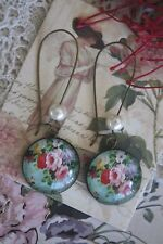 Rose Cameo Earrings - Pearl Beaded Vintage Style French Rose Flower Earrings