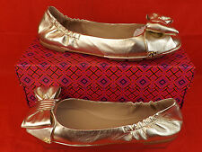 NIB TORY BURCH LIGHT GOLD LEATHER DIVINE BOW GOLD REVA BALLET FLATS 10
