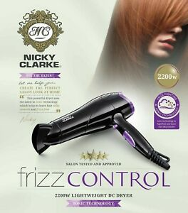 Nicky Clarke NHD177 Frizz Control 2200W Hair Dryer - Black and Purple