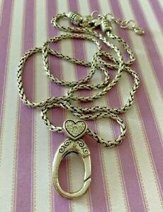Brighton Diamond Heart Clip Badge Add ABC Beads or Charms LONG NECKLACE 25""