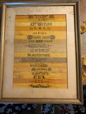 Antique Silk Cigar Ties~ Framed Block Vintage of 17 Tobacco Ribbons Bands