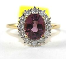 Oval Pink Tourmaline Gemstone & Diamond Halo Ring 14k Yellow Gold 2.27Ct