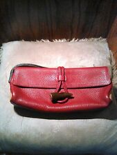 Burberry Pebbled Leather Burgundy Clutch