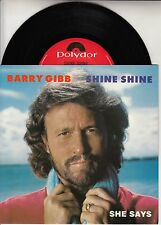 "BARRY GIBB  Shine Shine PICTURE SLEEVE 7"" 45 record + juke box title strip RARE!"