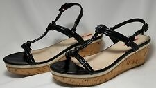 PRADA Strappy Black Patent Leather Cork Wedge Heel Sandals Shoes sz 9½ B
