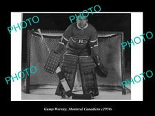 Old 6 X 4 Historic Photo Of Ice Hockey Great Gump Worsley, Montreal Canadiens