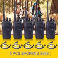 5x Baofeng-888S Two-way Ham Radio Handheld Walkie Talkie 400-470MHz  + Earpiece