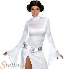 Ladies Princess Leia Costume Star Wars Woemns Fancy Dress Outfit + Wig
