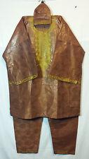 Mens Clothing 3Pcs Dashiki Pant Suit boho African Brocade Fabric Brown Free Size