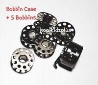 5 BOBBINS Domestic Sewing Machine SHUTTLE HOOK Bobbin Case Toyota + Singer