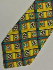 95caec2be18c Giallo Blu Moderno Foulard Cravatta di Seta 10.2cm Larghezza 145cm Lungo